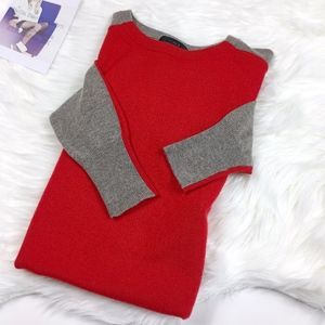 J. Crew Red Tan Color Blocked High Low Sweater